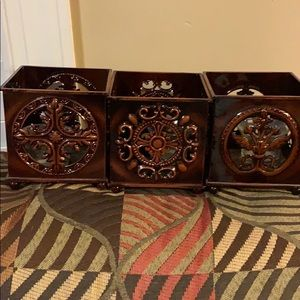 3 candles holders deep brown cube shape